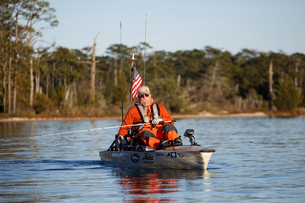 Thomas Quicke Jr. tries out the Hobie Pro Angler 14 Fishing Kayak