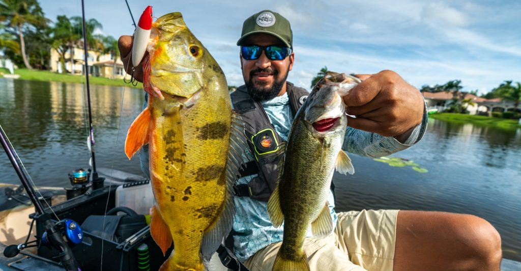 Robwil Valderry with a peacock bass in Miami, Florida