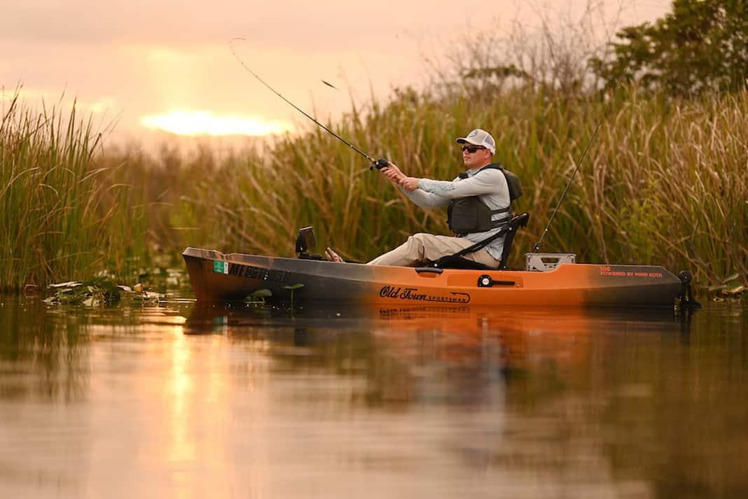 Man casting from fishing kayak