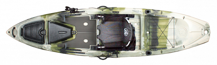 Overhead view of green and white sit-on-top 12-foot fishing kayak