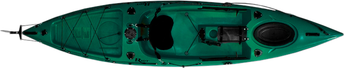 Overhead view of green sit-on-top 12-foot fishing kayak