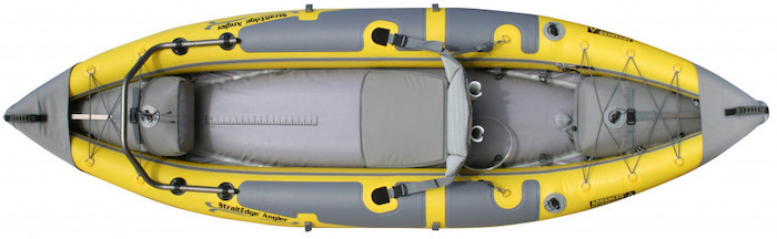 Overhead view of yellow inflatable beginner fishing kayak