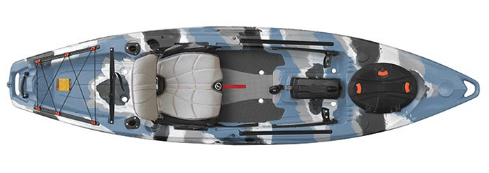 Overhead view of gray and blue camo beginner fishing kayak