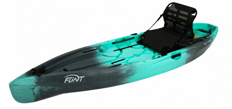 Side view of turquoise and black beginner fishing kayak