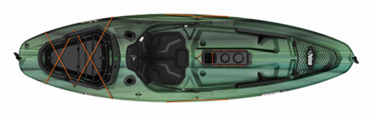 Overhead view of green beginner fishing kayak