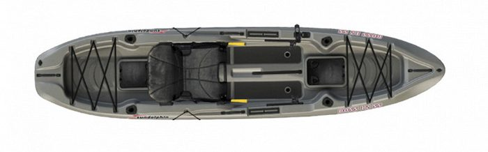 Overhead view of grey beginner fishing kayak