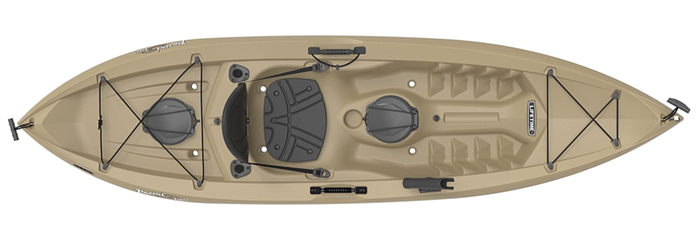 Overhead view of beige beginner fishing kayak