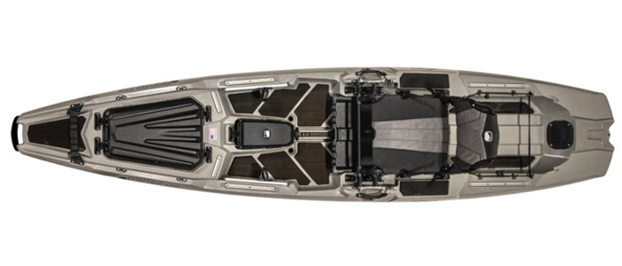 Overhead view of grey sit-on-top fly fishing kayak