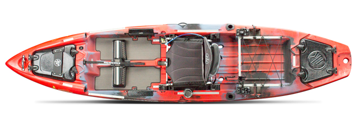 Overhead view of red sit-on-top fly fishing kayak