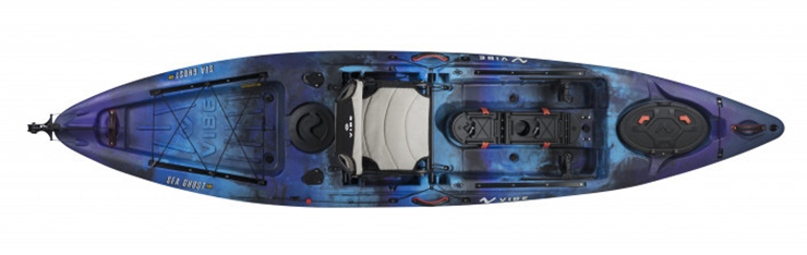 Overhead view of blue sit-on-top fly fishing kayak