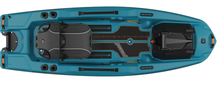 Overhead view of blue standup fishing kayak