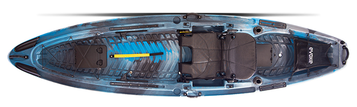 Overhead view of blue and black standup fishing kayak