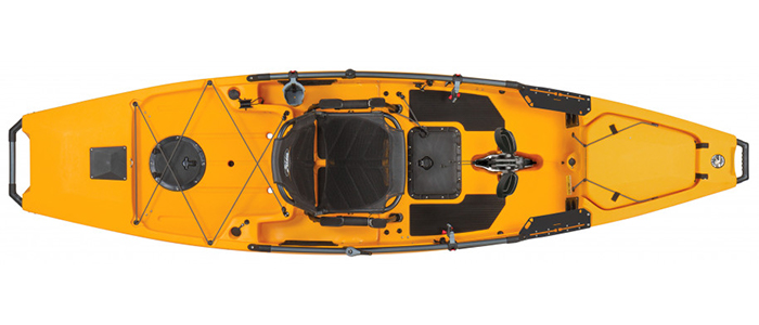 Overhead view of yellow standup fishing kayak