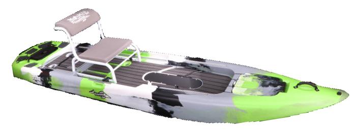 Side view of green, white, black and white standup fishing kayak