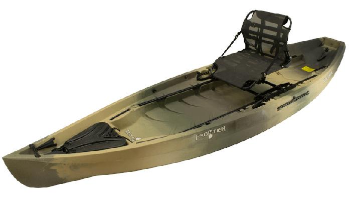 Side view of beige standup fishing kayak