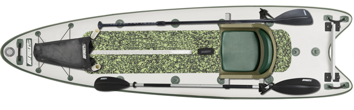 Overhead view of white standup fishing paddleboard