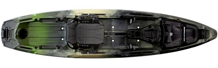 Overhead view of green standup fishing kayak
