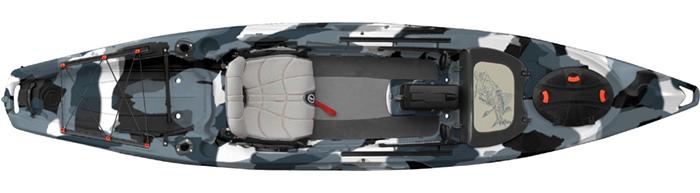 Overhead view of grey camo standup fishing kayak