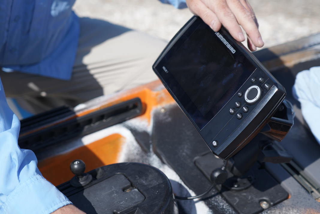 Fish finder mounted on a kayak