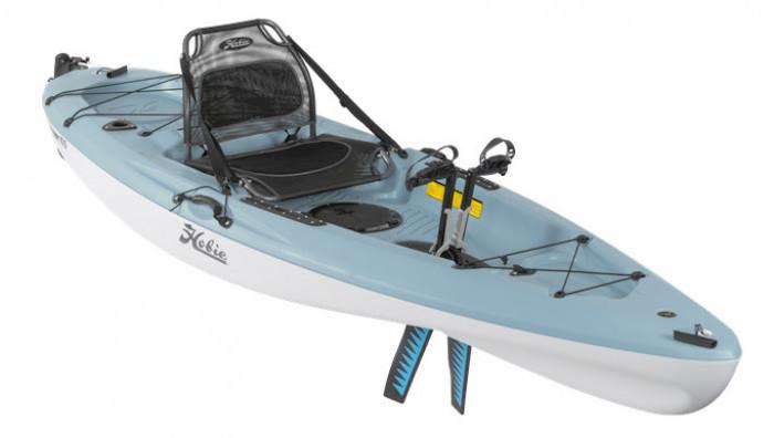 Side view of blue 10-foot fishing kayak