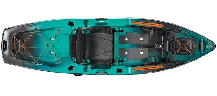 Overhead view of turquoise and black 10-foot fishing kayak