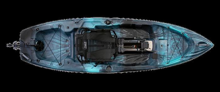 Overhead view of blue 10-foot fishing kayak