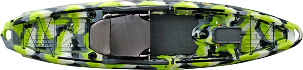 Overhead view of green, beige and white bass fishing kayak