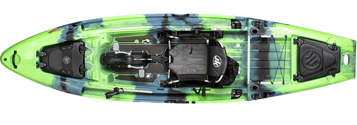Overhead view of green and blue bass fishing kayak