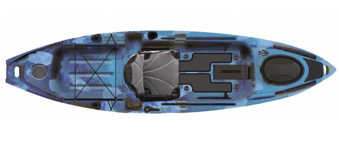 Overhead view of blue bass fishing kayak