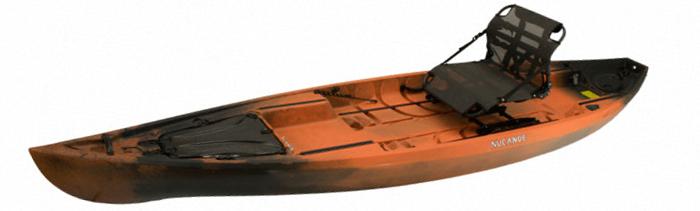 Side view of orange and black bass fishing kayak