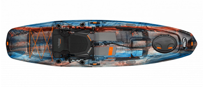 Overhead view of orange and blue bass fishing kayak