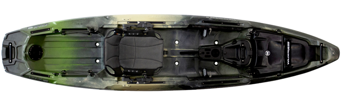 Overhead view of green, beige and black bass fishing kayak