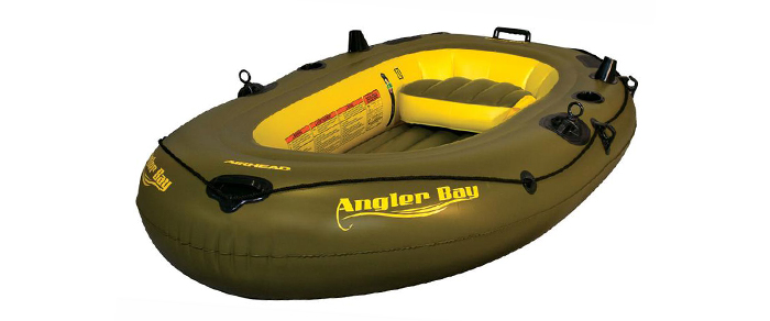 Front view of green and yellow fishing kayak under $500