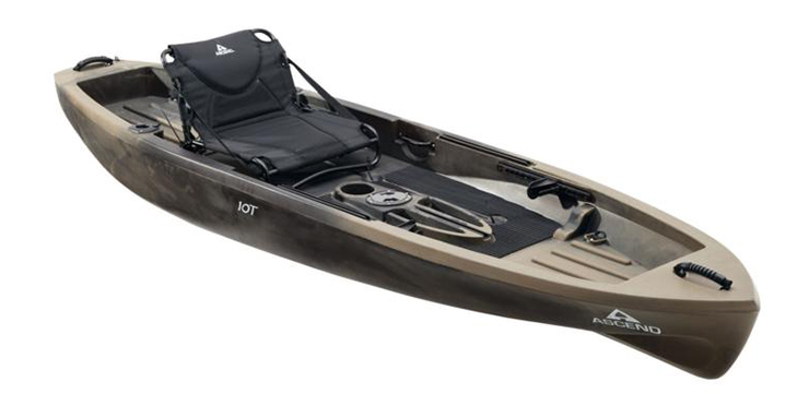 Side view of grey fishing kayak under $500