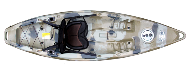 Overhead view of grey fishing kayak under $500