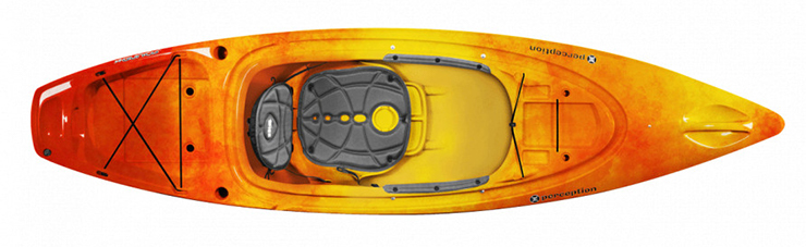 Overhead view of orange and yellow fishing kayak under $500