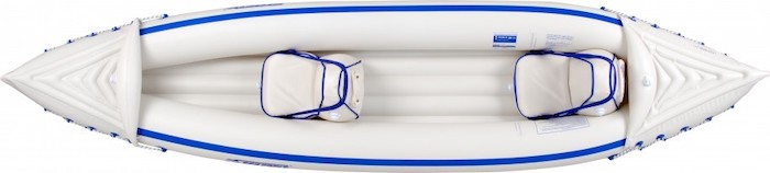 Overhead view of white inflatable fishing kayak under $500