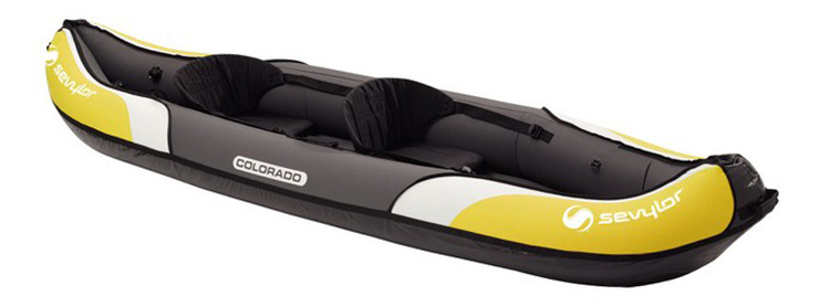Side view of yellow, grey and white fishing kayak under $500