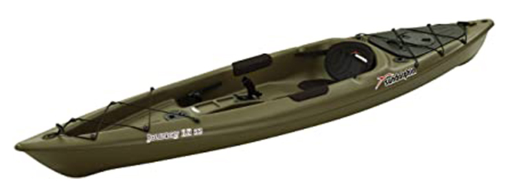 Side view of green fishing kayak under $500