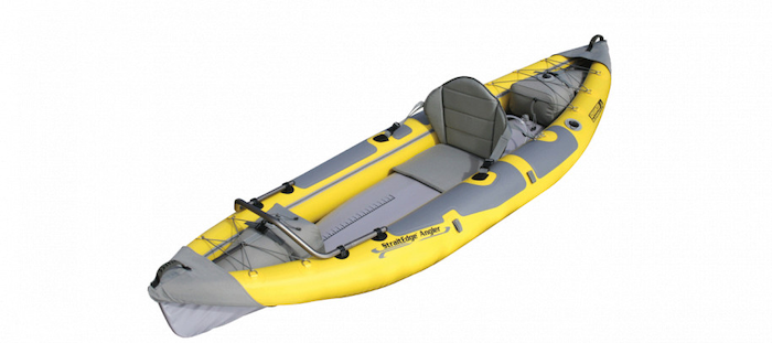 Side view of yellow and grey river fishing kayak