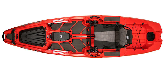 Overhead view of red river fishing kayak
