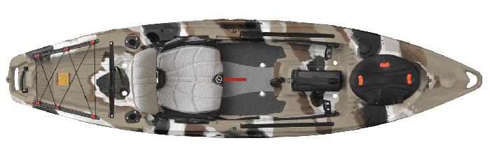 Overhead view of grey camo river fishing kayak