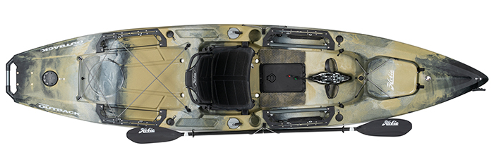 Overhead view of beige and grey river fishing kayak