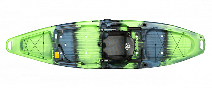 Overhead view of green and blue river fishing kayak
