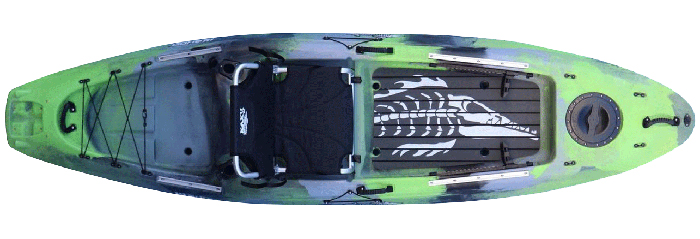 Overhead view of green and grey river fishing kayak