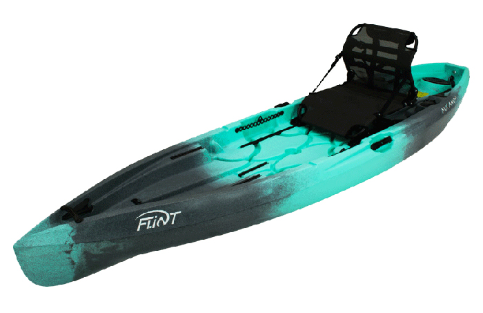 Side view of turquoise and black river fishing kayak
