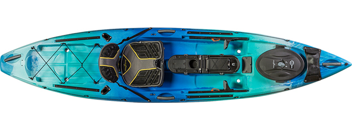 Overhead view of blue river fishing kayak