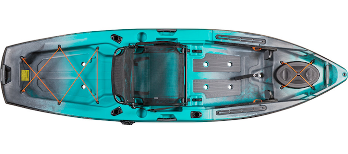 Overhead view of turquoise and grey river fishing kayak