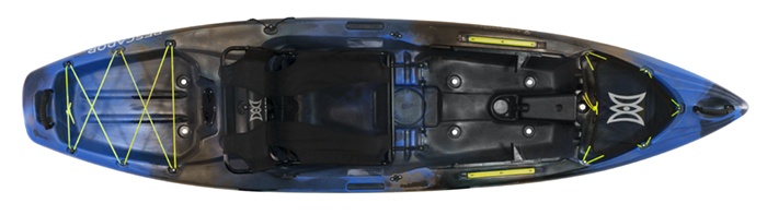 Overhead view of blue and black river fishing kayak