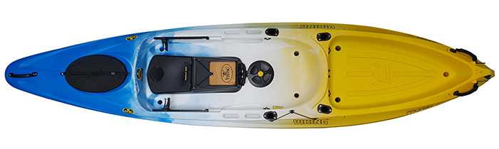 Overhead view of yellow, blue and white river fishing kayaks